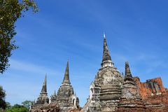 The pagoda. Photo of the main and sub temple of Wat Phra Si Sanphet in gorgeous view Stock Image
