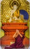 Pagoda pregante Rangoon di Buddha Shwedagon nel Myanmar Immagini Stock Libere da Diritti