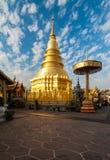 Pagoda przy Watem Phra Który Hariphunchai, Tajlandia Obrazy Stock