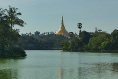 Pagoda in Rangoon, Birmania, Asia di Shwedagon immagine stock