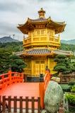 pagoda and red bridge Stock Photo