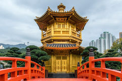 pagoda and red bridge Stock Images