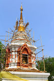 Pagoda restoration on the sky. Restore pagoda,Lamphun,Thailand this area is the public area Royalty Free Stock Image