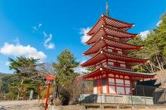 Pagoda rouge de Chureito en hiver Photographie stock libre de droits