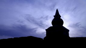 Pagoda ruin silhouette. Pagoda ruins silhouette which is located in west China. The pagoda is built 800 years ago Stock Photography