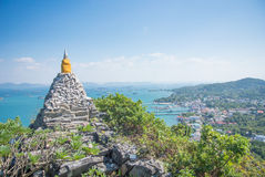 Pagoda with sea and blue sky. This photo i just take from thailand Royalty Free Stock Photos
