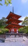 Pagoda Shrine on the hill of Kiyomizu-dera Temple. A 3-storey pagoda Shrine on the hill of Kiyomizu-dera Temple. Kyoto, Japan Stock Photography