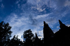 Pagoda Silhouette. Silhouette of Ancient Pagoda with Blue and Cloudy Sky in Background Stock Photography