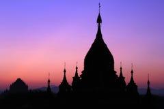 Pagoda silhouette, Bagan, Myanmar Royalty Free Stock Photo