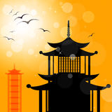 Pagoda Silhouette Indicates Religion Asia And Oriental Royalty Free Stock Image