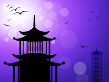 Pagoda Silhouette Represents Religious Temple And Worship Stock Photography