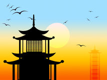 Pagoda Silhouette Represents Zen Japanese And Profile Stock Photo