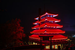 The Pagoda on Skyline Drive at night, in Reading, Pennsylvania. Royalty Free Stock Image