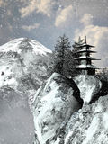 Pagoda and snow Stock Image