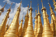 Pagoda with 1054 stupas near inle lake | Inle Lake. Around the pagode there are 1054 stupas covered with gold or white Royalty Free Stock Image