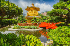 Pagoda style Chinese architecture in garden Stock Photo
