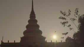 Pagoda sunrise Thailand stock footage