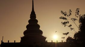 Pagoda sunrise Thailand stock video