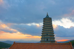 Pagoda in the sunset Stock Photography