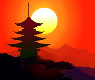 Pagoda at Sunset time - Vector Royalty Free Stock Photo
