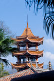 Pagoda in temple. A religious building of the Far East, a many-storied Buddhist tower, erected as a memorial or shrine Stock Photos