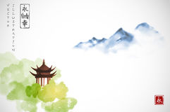 Pagoda temple in green forest trees and far blue mountains on white background.. Traditional oriental ink painting sumi-e, u-sin, go-hua. Contains hieroglyphs Royalty Free Stock Photography