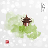 Pagoda temple and green forest trees on white glowing background. Traditional oriental ink painting sumi-e, u-sin, go. Hua. Contains hieroglyphs - eternity Royalty Free Stock Photography