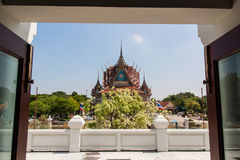 Pagoda. Temple with large white pagoda Royalty Free Stock Photos