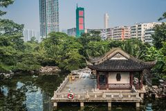 Pagoda temple pond Kowloon Walled City Park Hong Stock Photography