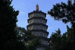Pagoda. The Temple of the seven-story pagoda Qingdao Stock Photo