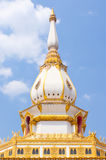 Pagoda in the temple of Thailand. One white pagoda in temple with blue sky background royalty free stock image