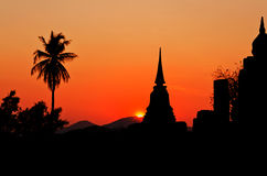 Silhouette pagoda at the Thai temple Stock Photo