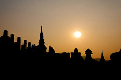 Silhouette pagoda at the Thai temple Royalty Free Stock Photos