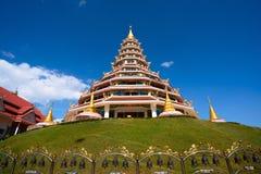 Pagoda in thailand with blue sky. Thai architecture at Wat Hue pla kang , Chiang Rai , Thailand Royalty Free Stock Photography