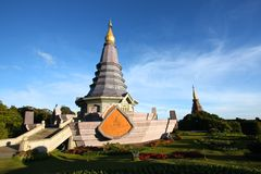 The pagoda in the thailand's mountain. The grey pagoda in the Doi In Tha Non,the highest mountain of thailand stock photo