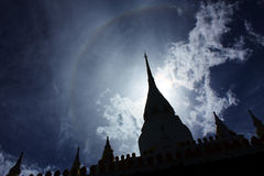 Pagoda, Thailand. Silhouette pagoda with halo in the sky Stock Images