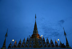 Pagoda in Thailand. Pagoda in thai temple with blue sky Stock Photo