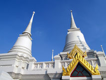 Two of thirteen white pagoda at wat Asokaram (public place in Thailand) Stock Photography