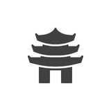 Pagoda tiered tower icon vector, filled flat sign, solid pictogram isolated on white. Royalty Free Stock Photos