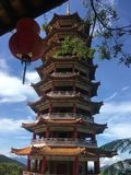 Pagoda Tower Chin Swee Caves Temple Genting Highlands, Malaysia stock photo
