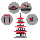 Pagoda traditional building japanese architecture emblem icons Royalty Free Stock Images