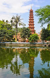 Pagoda of Tran Quoc temple with reflection Royalty Free Stock Photo