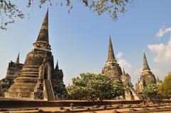 Pagoda tres en Phra Nakhon Si Ayutthaya Foto de archivo