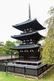 Pagoda Trois-racontée au temple de Kofukuji à Nara Photographie stock libre de droits