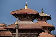 Pagoda type roof in Durbar square. Patan, Nepal Stock Photos