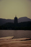 Pagoda under the setting sun Stock Image