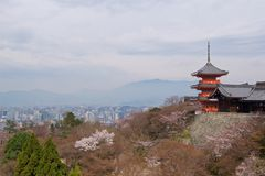 Pagoda in UNESCO Kiyomizu-dera Buddhist Temple overlooking Kyoto, Japan Stock Images