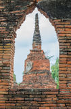 Pagoda vieja Wat Mahathat Ayutthaya Foto de archivo