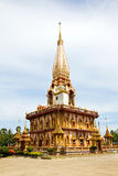 Pagoda in Wat Chalong or Chaitharam Temple Royalty Free Stock Photography