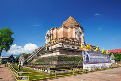 Pagoda in Wat Chedi Luang in Chiang Mai Royalty Free Stock Photography